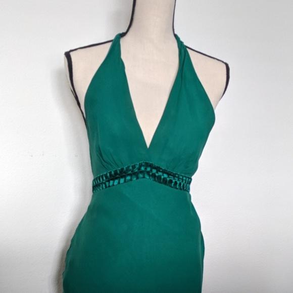 BCBGMaxAzria Dresses & Skirts - BCBG MaxAzria green halter silk dress